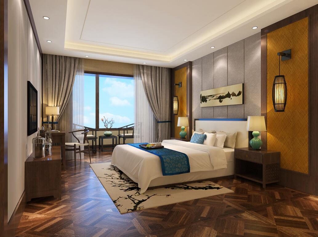 卧室以简约大气为主,同时用软包和深色墙纸两种材质装饰床头背板.图片