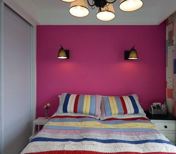玫瑰红的卧室背景墙