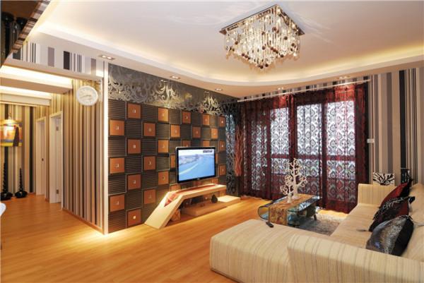 电视背景墙军绿色和橘色方格,带来一种独特的感觉。