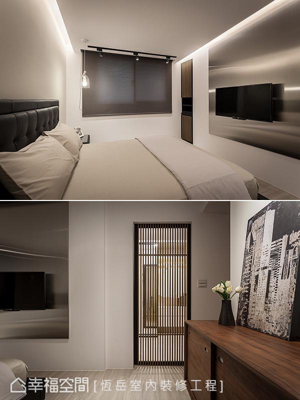 电视墙采用不锈钢毛丝面材质,形塑Loft风的设计语汇,两旁的机柜与更衣室