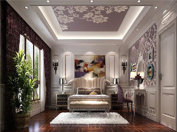 带有金属光泽的床头柜和背面大幅油画,彰显出法国贵族式的高贵与典雅。