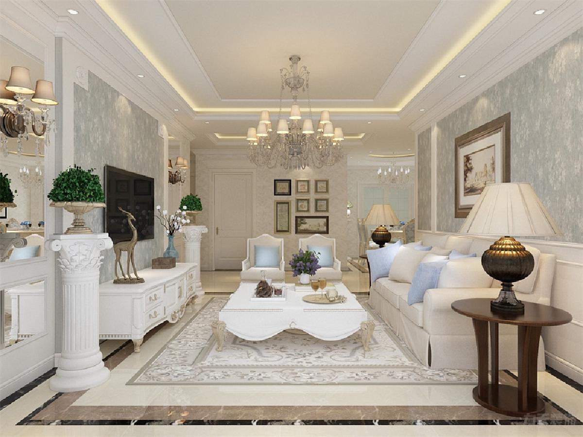 沙发背景墙采用浅色壁纸配合亮欧式挂画,电视背景墙采用镜面的装饰