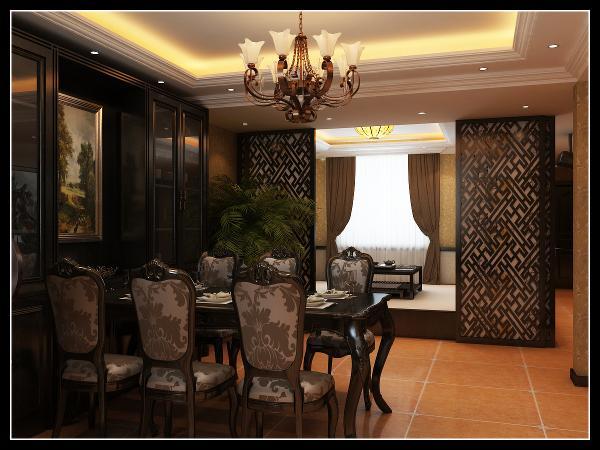 欧式餐厅用家具和软装饰来营造整体效果,深色的吊顶和枫木家具,都是点染欧式风格不可缺少的元素。