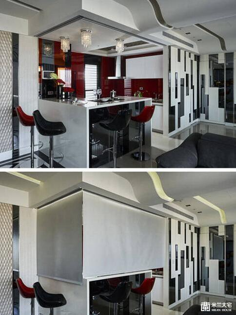 公领域的壁板设计也延伸入厨房立面,运用红色烤漆玻璃、黑镜、灰镜及酒红镜的交错方式安排,与白色厨具强烈对比,凸显厨房空间的活泼性及机能。