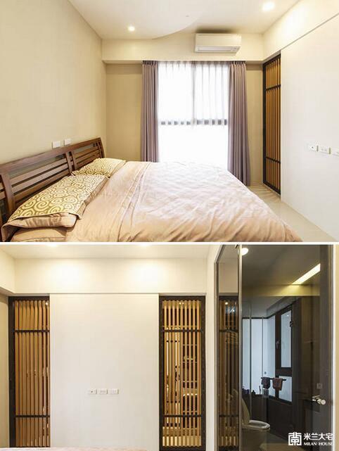 以温润的藤色为基底,原先床头位置上方有80公分的深梁,设计者直接挪用于衣物收纳柜体,并以电视墙结合双拉门的循环动线,划出独立的更衣空间。