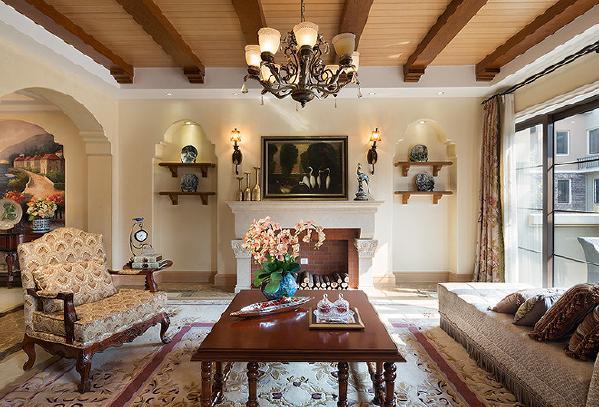 别墅装修美式风格完工案例实景展示,温暖色调加州里风格,上海腾龙别墅设计师周峻作品,欢迎品鉴!