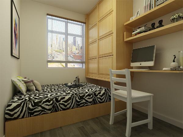 次卧后现代感十足,地面通铺灰色木地板运用黑白灰的线条使空间提升质感。