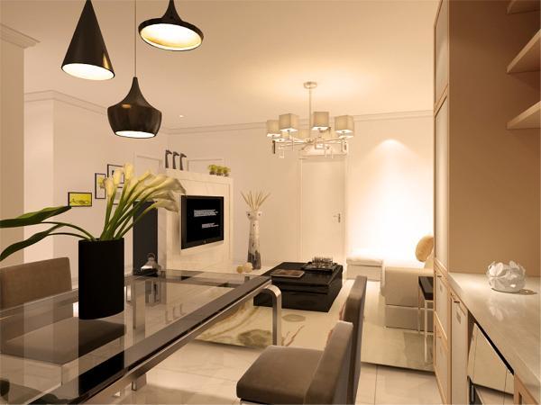 在餐厅的设计中,采用了高级灰色系的餐桌椅搭配黑色的厨房滑动门。白色和明亮玻璃的结合创造出了现代的洁净与明亮。
