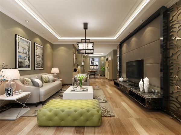 在电视背景墙的装饰上,采用的是软包和不锈钢花格设计,表现了一种现代气息感,整个背景墙充满了极简的味道,但不失现代感。沙发背景墙采用的是挂画的组合,沙发采用的是灰色系配搭浅色地板。