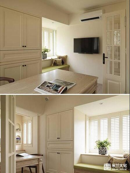 收纳DVD、杂物的柜体以美式线板细致收边,而窗台旁的舒适卧榻下方,亦有收纳空间。