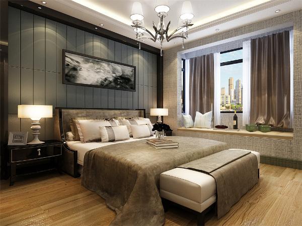 木色的木地板与灰色壁纸相结合,浅黄色的衣柜配搭灰色系的双人床使偏冷色系的空间有了少许温暖和亲切,地板采用的是实木复合地板具有防滑的功效,在床头的背景墙上采用的是蓝灰色和吧挂画。