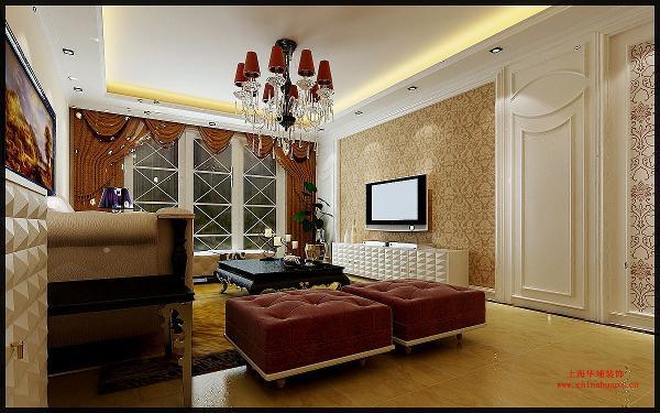 整个设计方案的主色调为暖色,黄色糅合白色,使色彩看起来明亮、大方。欧式吊顶造型,顶面壁纸与地面地毯相呼应。