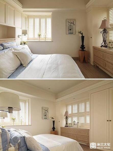 主卧房以女主人喜爱的美式乡村风铺饰。