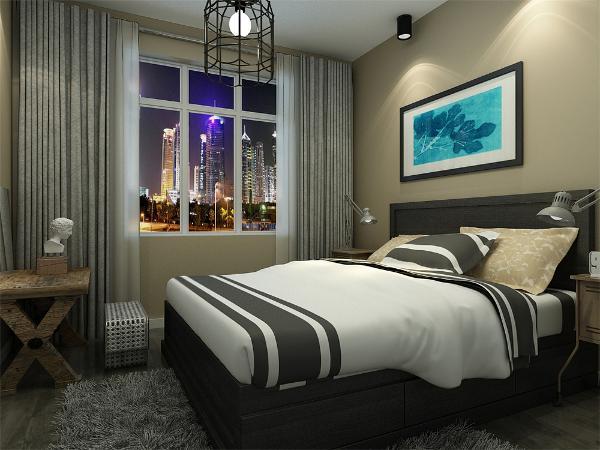 主卧采用暖色调与实木的配合,地面通铺实木复合地板,踢脚线与顶面的圈边框使空间更加有层次感。