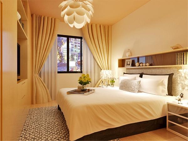 在卧室的设计中,同样我们采用了木色的木地板与简约床体相结合,木色的衣柜配高级灰色系的双人床使偏冷色系的空间有了少许温暖和亲切,地板采用的是实木复合地板具有防滑的功效。