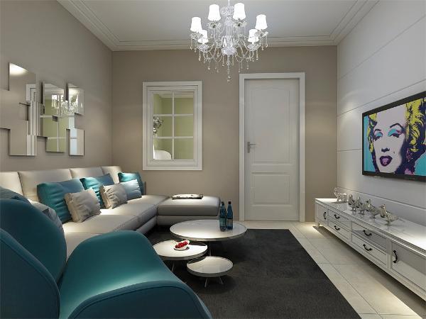 客厅空间讲究的是时尚的现代化气息,电视背景墙采用石膏板拉缝的造型使墙面更明亮富有层次感,地面800*800的米黄色地砖使空间看起来更有时尚感。