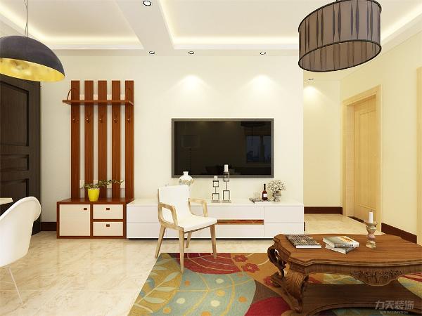 现代简约风格已简约明亮的色彩搭配深受人们喜爱。客厅设计讲究的是简约、稳重,深色的电视柜、浅色的茶几,沙发,餐桌使得整个空间即稳重又清新