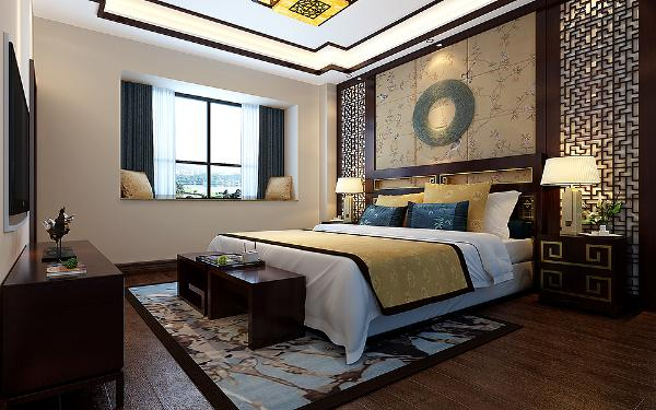 装修别墅新中式卧室装修效果图片_装修美图-新浪装修