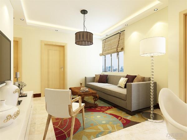 布艺的沙发为空间增添温暖简洁干净的气息,沙发背靠窗户,光照也使空间看起来更干净,清新大方,富有韵律