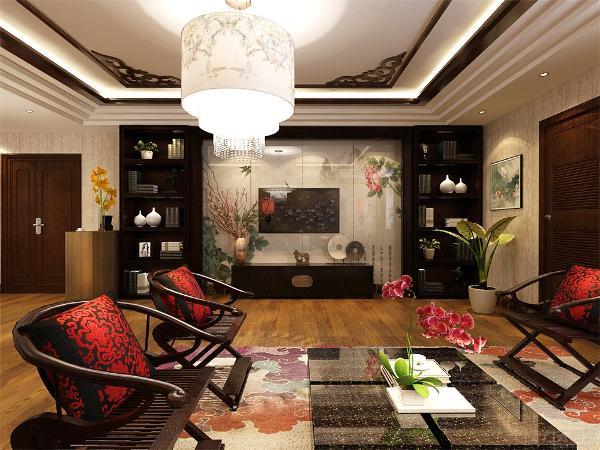 沙发背景墙采用的是驼色的花鸟图陶瓷小装饰点缀,格调高雅。在电视背景墙采用的是中式元素牡丹花鸟图壁纸和博古架造型,营造了一种中国风的感觉,在家具的采用上多采用的是深色系座椅,和实木的电视柜。