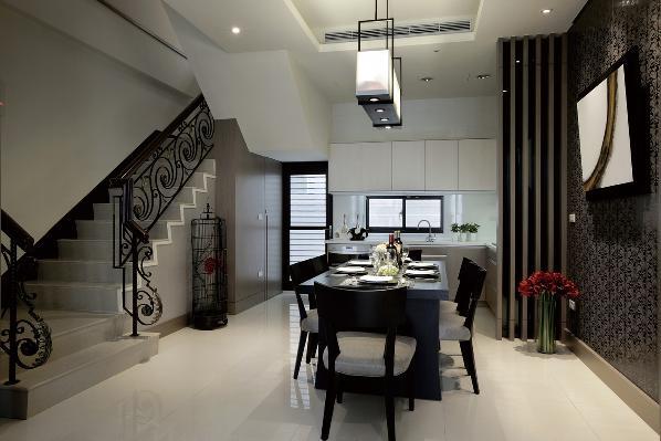 复式现代简约黑白灰餐厅装修效果图片