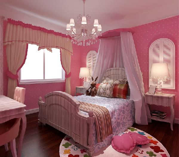 粉色墙体配上灰色欧式风格的儿童卧室家具,显得气质又大方。暖的气息。