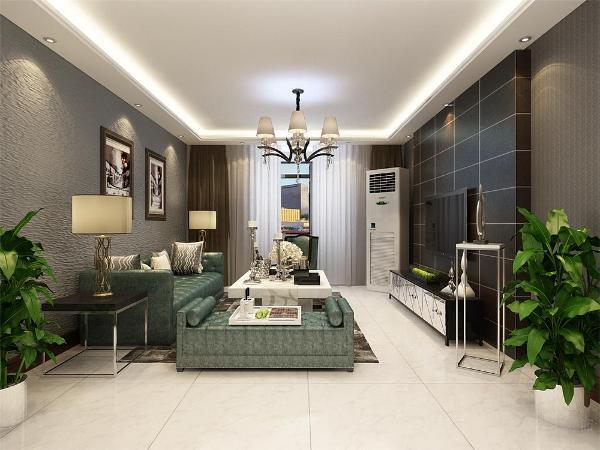 在沙发的背景墙的设计上,采用的是挂画形式,沙发背景墙采用的是蓝灰色的硅藻泥,有很强的肌理感,沙发发采用的是绿色的皮纹。