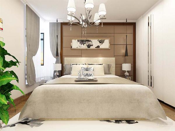 在卧室的设计中,同样我们采用了木色的木地板与米驼色墙面相结合,白色的床配搭灰色系的双人床使空间有了少许温暖和亲切,地板采用的是实木复合地板具有防滑的功效。