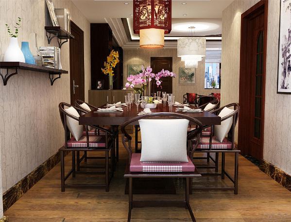 餐厅区域放置了国画挂画装饰,营造了一种古香古色之感,在整个空间的墙面上才用的是奶黄色墙纸,使整个客餐厅氛围更具中国味道。