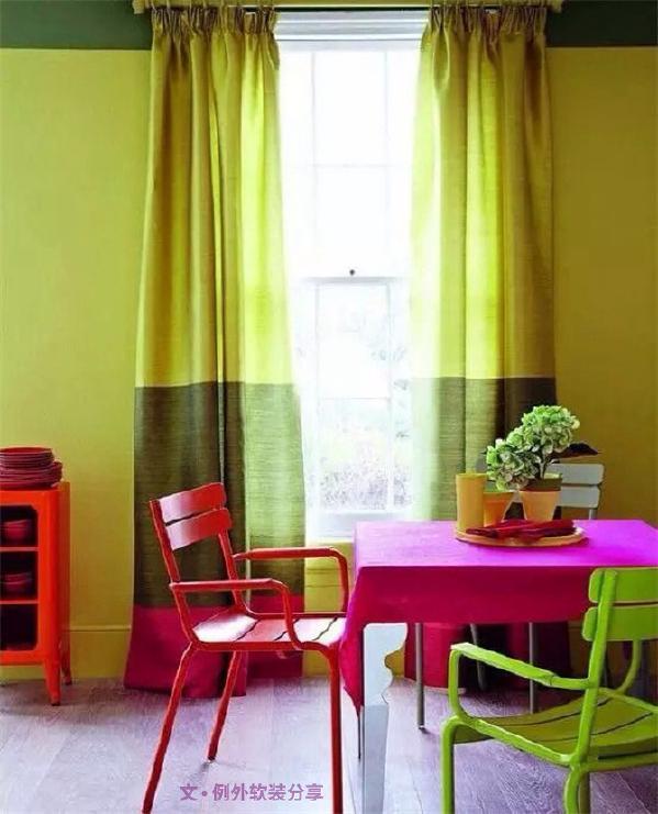 2、三拼 窗帘和墙面都是三等拼,中间的色段与墙面齐平,这种拼接方法值得尝试。