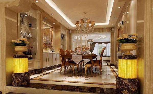 餐厅,用柜子、瓷砖、大理石、吊顶装饰,整体的空间布局相协调