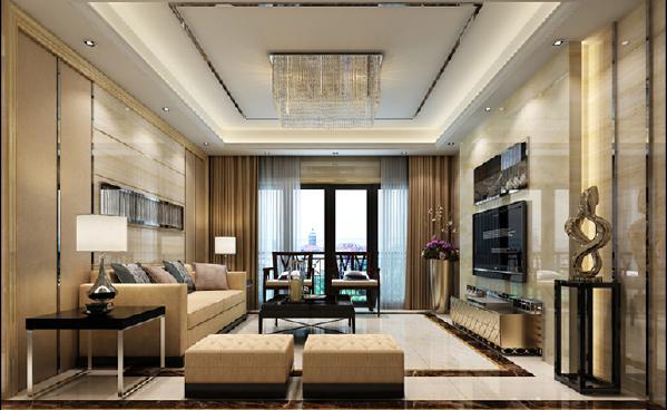 现代风格,用简单的吊顶、背景墙装饰,不失时尚大方.