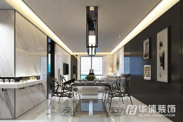 以线面结合方式展现出一个与众不同的沙发背景墙,显得优雅精致。
