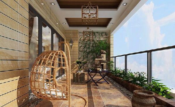 阳台,放上一套茶具、秋千,休闲时刻,最是美妙