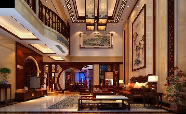 """客厅餐厅秉承了大尺度、大空间的理念,重新诠释了""""宽敞""""的定义。客厅与餐厅之间通过博古架做间隔,让视线可以任意地穿行,充分享受空间带来的自由感。。整体空间色调柔和、安宁,却给人如同笔锋划过后的深刻印记。"""