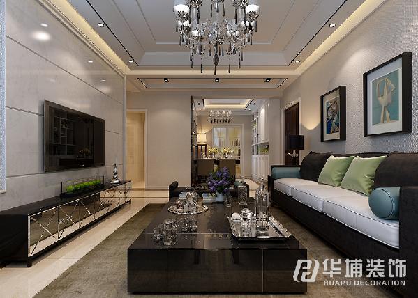 客厅正面采用石材砖横向铺贴,拉伸视觉效果,整体色调是以简洁明快为主,营造出简洁 大气的氛围