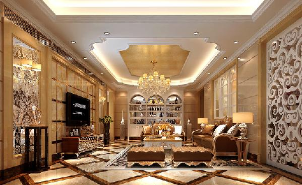 在整个空间的色调控制上,欧式沙发与大理石 地砖 银镜 墙纸相互对比,沉稳而有张力,在装饰材料的运用。在采用现代风格的款式和造型,简约而又颇具现代风格雅致