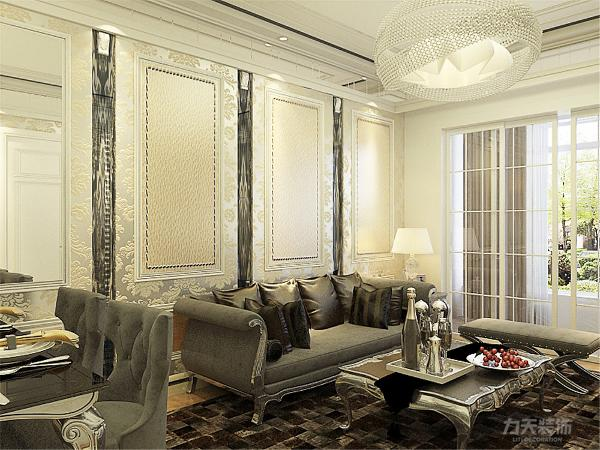 客厅沙发背景墙采用硬包加石膏线做装饰图片