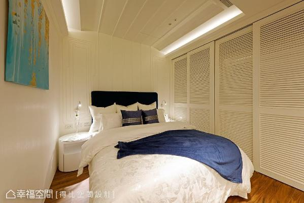 衣柜采用白色木百也门片,呼应本案以新古典为主轴的风格设计。