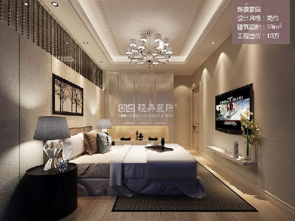 卧室主要用浅色系布艺,墙面用素色壁纸,顶面直线吊顶增加辅助照明。