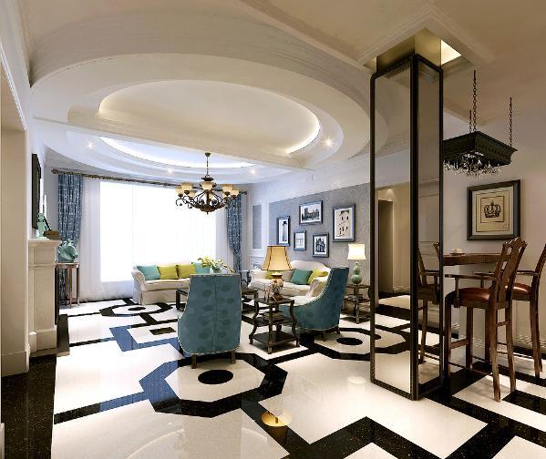 客厅的用到了一些装饰线条让整个空间显得更加特别。