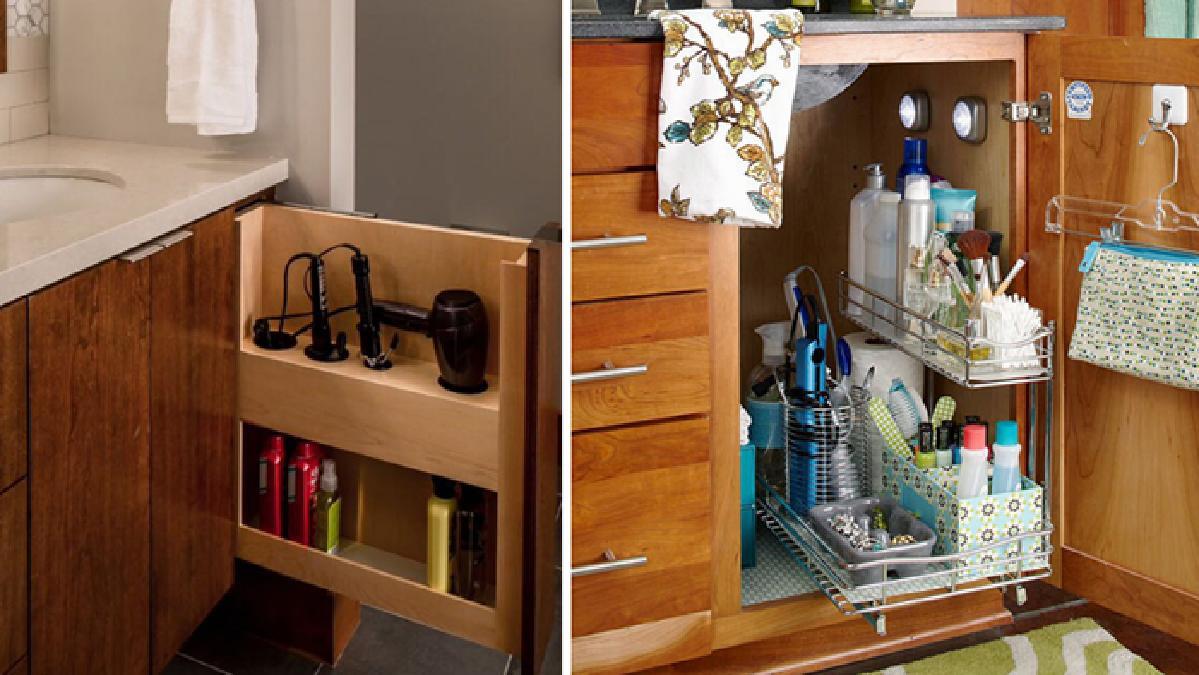 纤细的储物柜小浴室的绝佳选择,多抽屉的设计,将洗漱用品都能分门别类图片