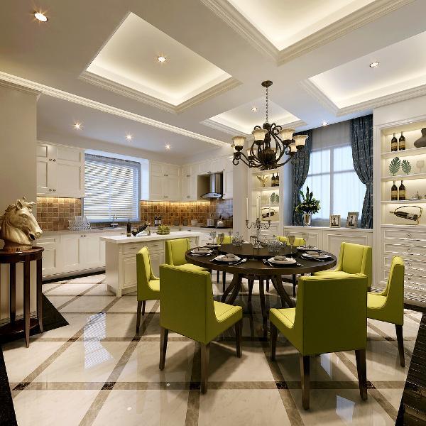 宽敞的餐厅设置了餐边收纳柜:在拥有强大储物功能的同时也考虑了协调的装饰效果。