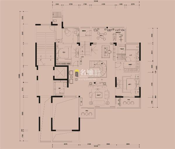 振业城600平别墅装修一层户型图