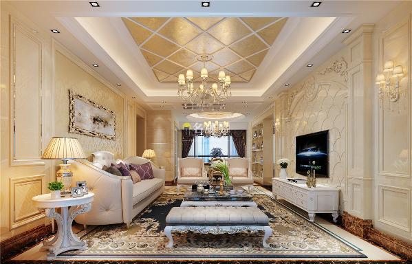 客厅装修:整个客厅都以米黄色为主,电视背景以大气的龙鳞设计为主又以大理石雕花,大理石柱加以装饰给人自然奢华大气、明亮温馨的感觉。