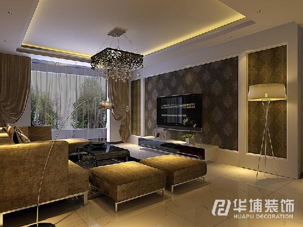 客厅电视背景墙搭混油边框及壁纸,简单时尚。