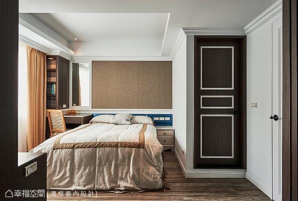 运用朴实的大地色彩与线板造型,诠释出简单、内敛的长辈睡眠区。
