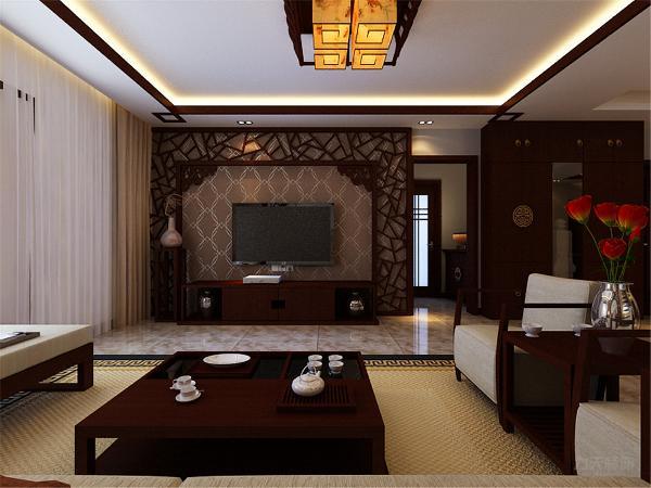 电视背景墙采用花格加菱形深色壁纸做搭配,再搭配中式电视柜,整体搭配出中式韵味。