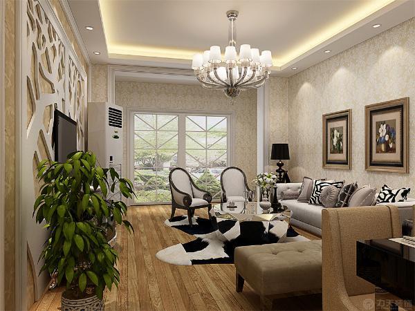 客厅是直线回字形吊顶,简约大方又不失美观。电视背景墙后贴壁纸,用石膏板做不规则造型,体现了现代感。除了卫生间和厨房之外通铺地板,墙面贴壁纸。整体以暖色为主,体现了家的温馨。