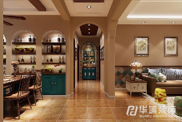 一进门给人田美式般的温馨与舒适,端景过道的尽头,让人心旷神怡。采用花砖造型  拼花,结合装饰性家居来体现。